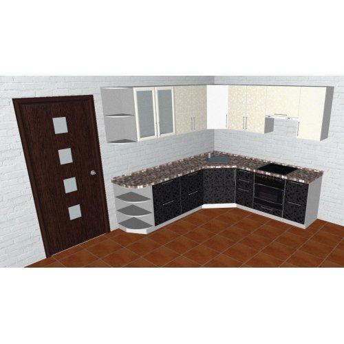 Угловая кухня black and white OKM